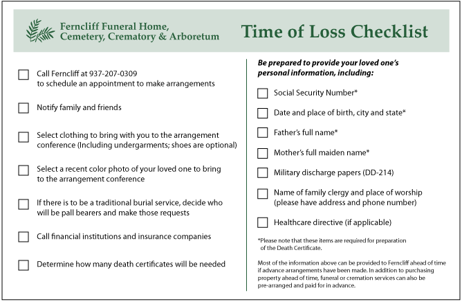 time of loss checklist ferncliff cemetery funeral home crematory