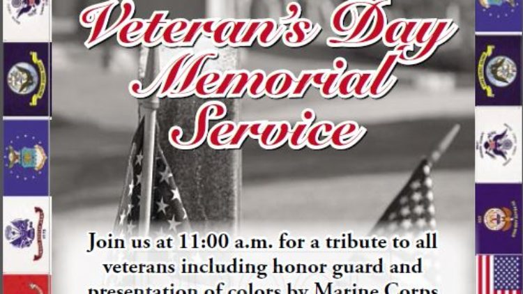 Veterans' Day Service – Monday, Nov. 12 at 11:00 am