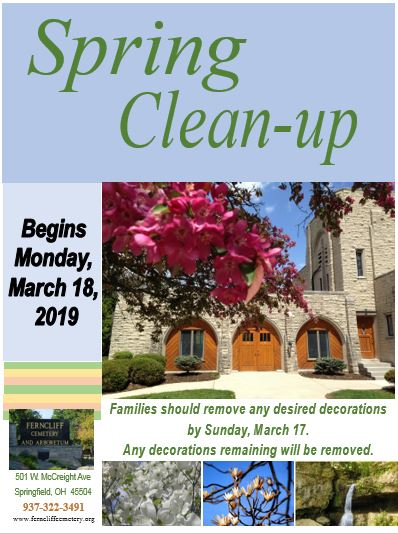 Spring Clean-up is Monday, March 18, 2019